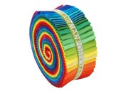 "Robert Kaufman Kona Cotton Solids NEW CLASSIC Roll Up 2.5"" Precut Cotton Fabric Quilting Strips Jelly RU-228-41"