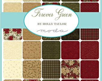 "Moda FOREVER GREEN Layer Cake 10"" Precut Fabric Quilting Cotton Squares Holly Taylor 6690LC"