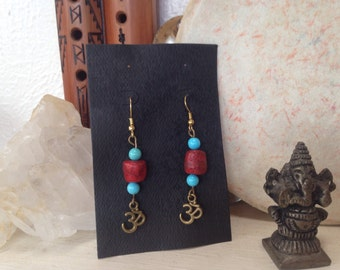 Chakra Om Turquoise & Coral Antique Brass Earrings //Yoga// Meditation// Zen// Universal