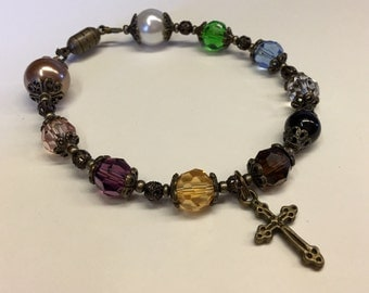Psalm 23 Bracelet F - Swarovski Crystal Bracelet - Brass - Antiqued Bronze - FREE USA SHIPPING -