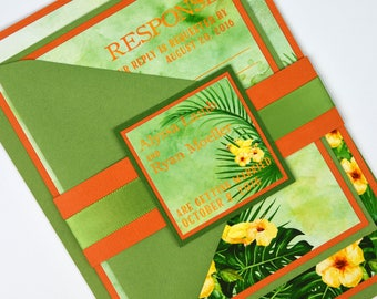 Watercolor Tropical Hawaiian Hibiscus, Palm Leaves and Birds  Beach Destination Wedding Invitation and RSVP Suite