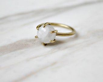 Moonstone brass ring, gold and white gemstone ring, boho modern simple ring