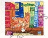 ON SALE Bookshelf Kitty Watercolor Print