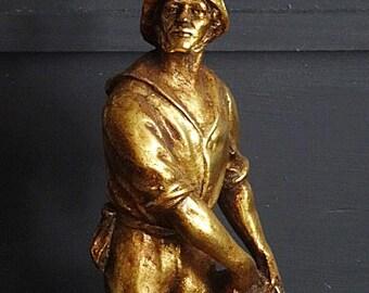 "Large Gilt Fisherman Sculpture, Fisherman Statue, New England Fisherman, Trawling Fisherman 16"""