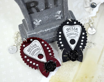 OUIJA heart mirror planchette -  Laser Cut Acrylic Necklace on black or red base with a rose and crystals