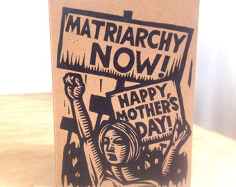 Mother's Day Card, Linocut Mother's Day Feminist Greeting Card, Letterpress Linocut Card for Mom, Progressive Mother's Day Card