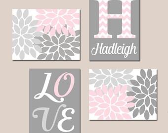 PINK GRAY Nursery Wall Decor, Baby GIRL Wall Art, Canvas or Print Love Flower Burst, Girl Bedroom Artwork, Girl Monogram  Gift Set of 4