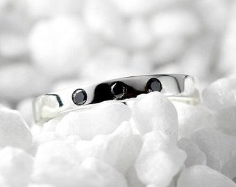 Black Diamond Wedding Band 14k White Gold Dainty Custom Engraved Womens Ring