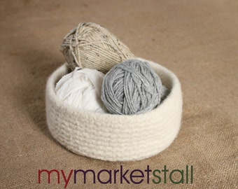Large Wool Felted Bowl/Hand Knitted/Extra Thick/Ribbed/Natural Wool/No Dyes/Ready to Sh