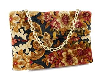 Vintage 1950 - 1960's Carpet Bag Floral Envelope Style Purse Handbag Chain Handle