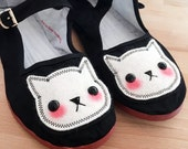 Stitched Cat Shoes - Embroidered Kitty Flats Mary Janes- SIZE 7