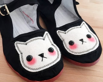 Stitched Cat Shoes - Embroidered Kitty Flats Mary Janes- SIZE 9