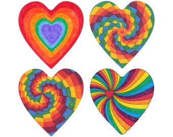 Rainbow Heart Clipart Pack, 4 JPGs png, Valentine's Day, Instant Download, Pride Heart Digi Stamp, Scrapbooking Hearts, Inklets Illustration