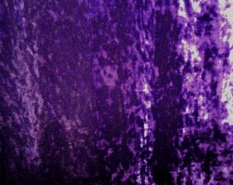 Purple Crushed Velvet Jersey Fabric - Destash