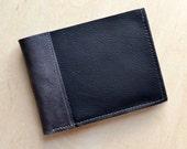 Mens Leather Wallet, Black Leather Wallet, Slim Leather Bifold Wallet, Mens Wallet, Monogrammed Gift for Him - The Frankie Wallet in Black