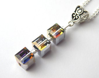 Blue Purple Crystal Cube Necklace - Meridian Blue Crystal - Swarovski Elements - Multicoloured Crystal Cube Necklace - Blue Purple Pendant