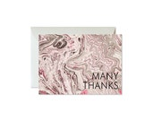 MANY THANKS Coral + Taupe Marble Notes / Shimmery Silver Envelopes - Set (8) / Thank You