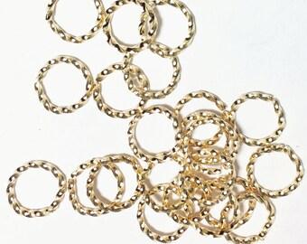 100 pcs of Light gold plated brass fancy open  jumprings 9mm 16g