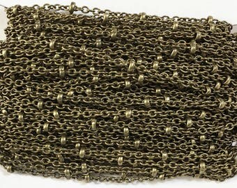 32 ft  antiqued Brass round cable chain brass beads 2X2.5mm, bulk beaded chain, antique brass beaded chain