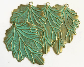 Bulk 30 pcs of Antique Brass long leaf pendant 48x35mm, bluing leaf pendant, Verdigris Patina