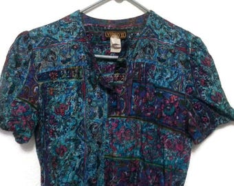 Vintage 80s Virgo II Dress Floral Short Made in USA