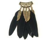 Boho Hippie Black Feather Pendant Antique Brass Ornate Unique Jewelry Finding Component  FE1-32 