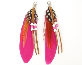 Hot Pink Feather Earring Findings Bright Colorful Black White Brown Bead Dangle Craft Feathers Wrapped Loop for Boho Gypsy Hippie |FE1-18|2