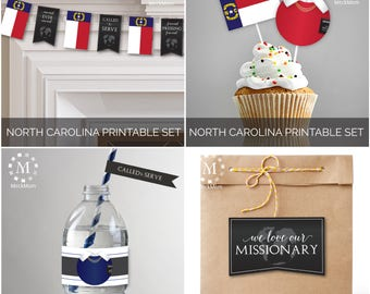 INSTANT Download - NORTH CAROLINA -  Missionary Farewell Welcome Home Decoration Printable Set for Sisters
