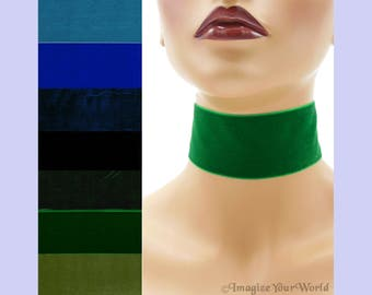 """Extra Wide 2-inch Blue or Green Velvet Choker Custom made Your Length and Color shade (approximate width 2 inches; 50 - 51 mm; 2"""") Navy +"""
