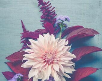Dahlia Photograph - Rustic Modern Wall Art - Muted Still Life Wall Art - Botanical Wall Art - Flower Art - Floral Decor - Blue Red Pink Art