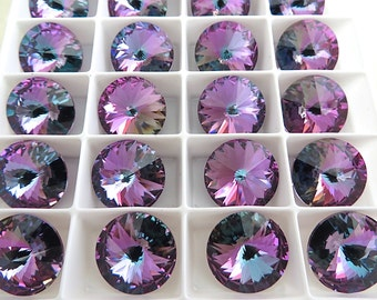 SALE 6 Violet Vitrail Light Swarovski  Rivoli Stone 1122 14mm