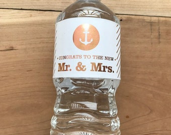 Gold Foil Waterproof Water Bottle Labels - Silver Foil Metallic Labels - Wedding Water Bottles - Party Drink Stickers - Nautical Anchor