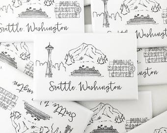 Seattle, Washington Skyline Magnets