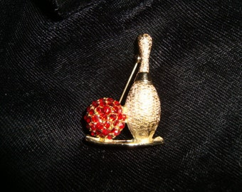 50's Dodd's Bowling Pin & Red Rhinestone Ball