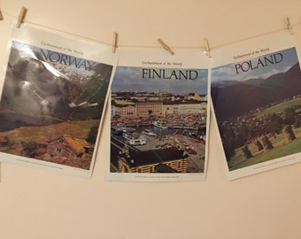 Vintage School Travel Posters Norway Finland Poland