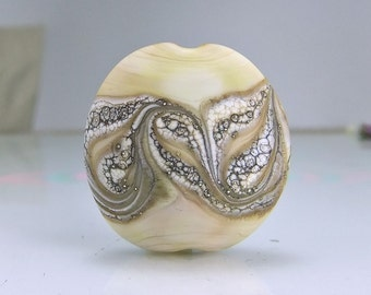 Etched Brown Pale Mustard Silvered Ivory Lampwork Focal Bead