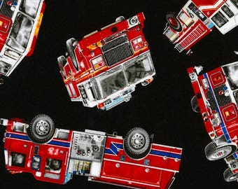 Firefighter Fabric- Fire Trucks -Fabric Cotton Material- Fire Truck Fabric- Timeless Treasures- Sewing Supplies- Quilting Supplies.