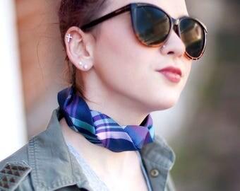 Tie Choker - Necktie Necklace - Silk Choker - Hipster Jewelry - Fabric Choker - Memorial Gift - Blue and Pink Plaid Choker 04.