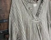 Striped European Linen Oversized Top