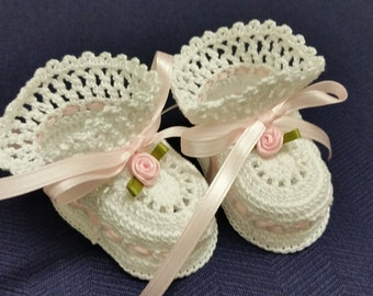 Crochet Baby Booties Pink Roses Newborn Girl or Reborn Doll Christening Booties Baptism Baby Shower Gift Photo Prob