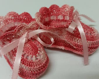 Baby Girl Booties, Shaded Pink, Crochet Booties, Christening, Baby Shoes, Newborn Girl, Reborn Doll, Baptism, Baby Shower Gift