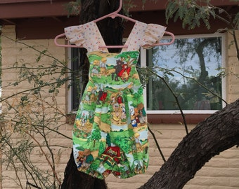 Little Red Riding Hood Fairy Tale Girls Ruffle Romper Sunsuit SZ 2