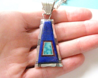 Gilbert Nelson Navajo Sterling Silver Lapis and Turquoise Pendant and Sterling Necklace