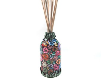 Diffuser  pretty posies millefiori designed container and 12 bamboo sticks Dif01 Fragrance NOT included