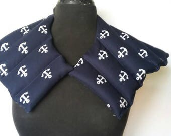 Rice Heating Pad Flaxseed /Microwave Heat Pad, Hot or Cold Therapy Wrap/ Unsceted or Scented/ Gift for Mom- Navy Anchor