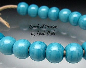 Artisan Beads of Passion Leah Deeb Lampwork - 20 Perfect Azure Minis