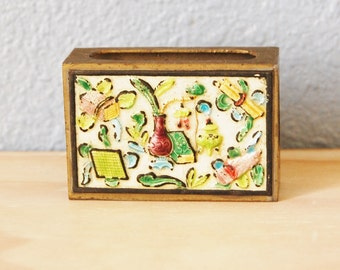 Vintage 1930s Chinese Match Box Holder Enamel and Brass Export