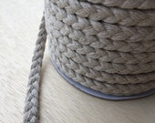 "50 yards soft plaited rope in jute and cotton mix, 9mm / 3/8"" width raw silver colour, rustic weddings / ocean theme / nautical party."