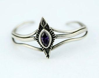 Art Nouveau Cuff, Elvish Cuff, sterling silver cuff, celtic cuff Amethyst cuff