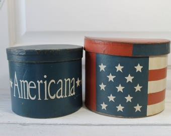 Red, White and Blue, Independence Day Boxes, Paper Mache , Americana Shaker Boxes, 4th of July, Primitive , Colonial Style,  cardboard box